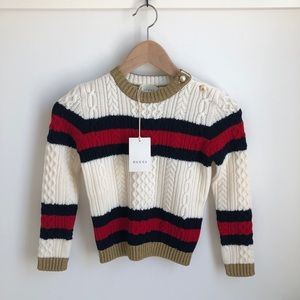 Gucci Striped Web Cable Knit Sweater White Navy